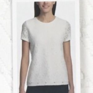 Andrew Marc NY white eyelet cut blouse top size L